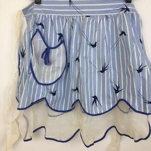Vintage apron hummingbird pockets handmade blue
